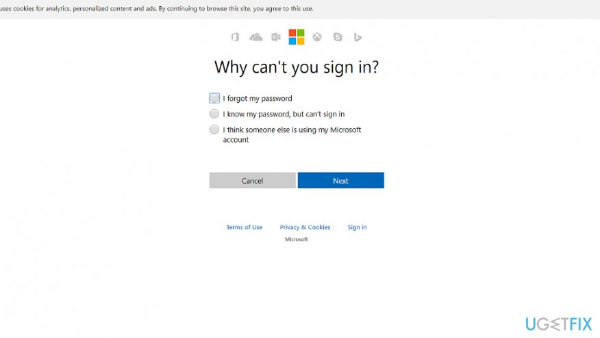 Reeset your password via Microsoft online password reset page