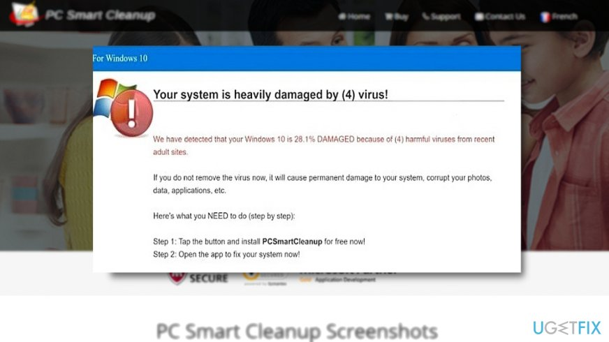 The screenshot of the official PC Smart Cleanup website and online scam promoting the tool