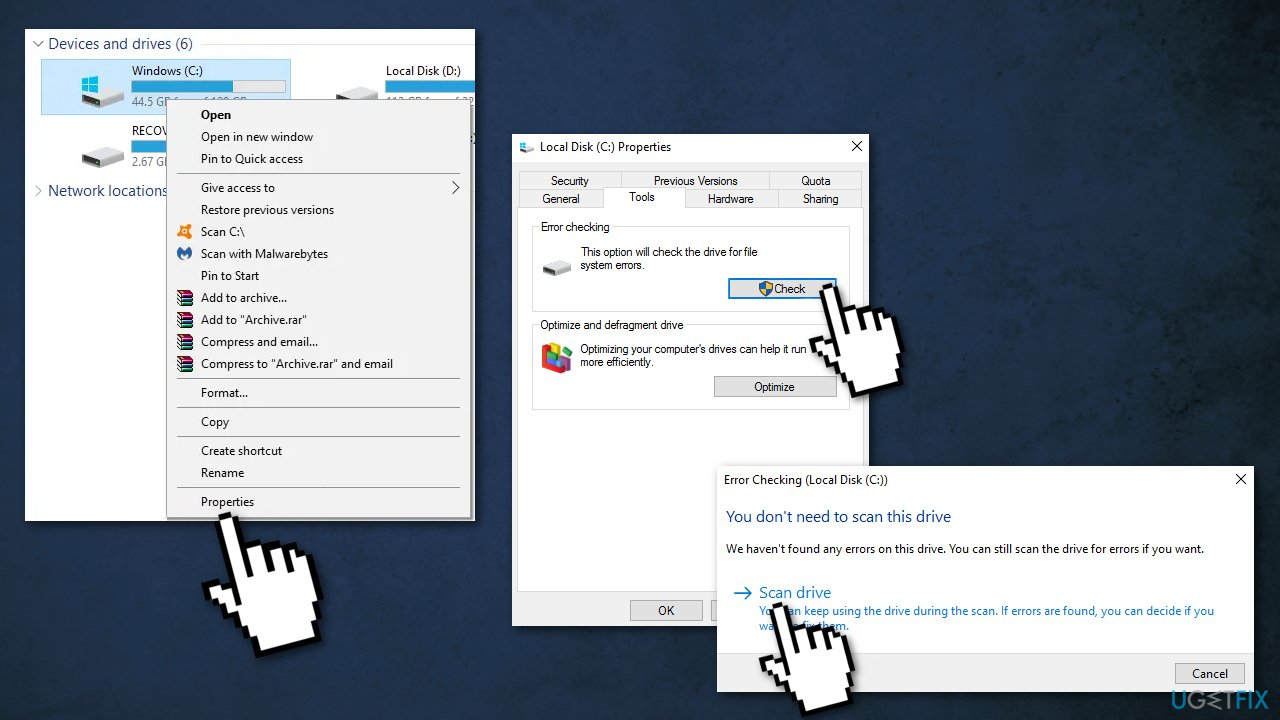 Perform error checking of Windows drive