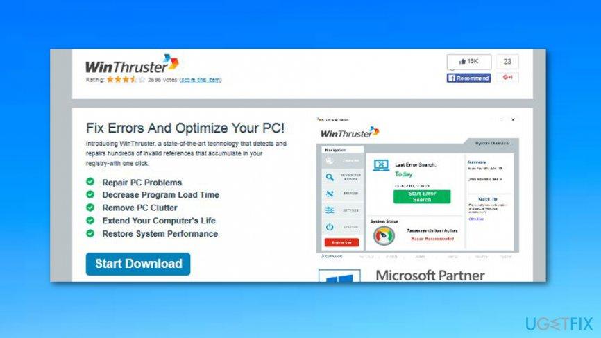 Uninstall WinThruster on Windows OS