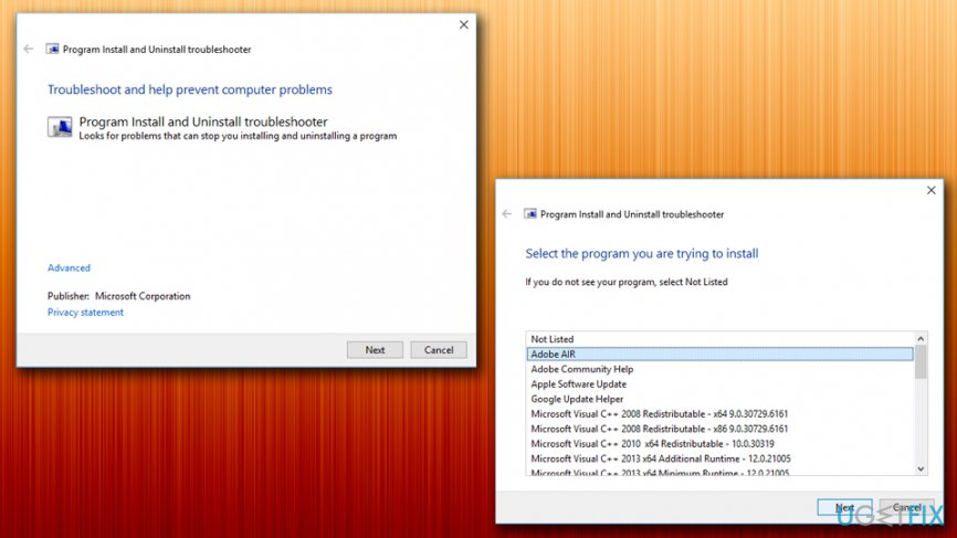 Run Program Install and Uninstall troubleshooter