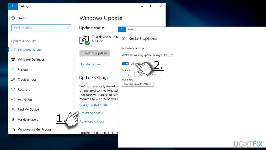 Postpone the installation of the update
