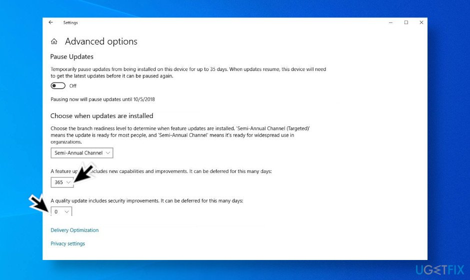 Postpone Windows 10 updates