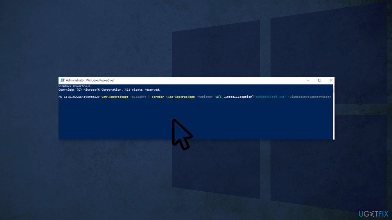 Re-Register Windows Apps