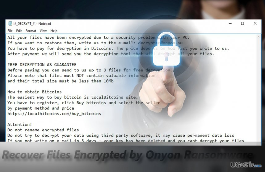Onyon ransomware offers visiting secret .onion website with amusing GIF picture
