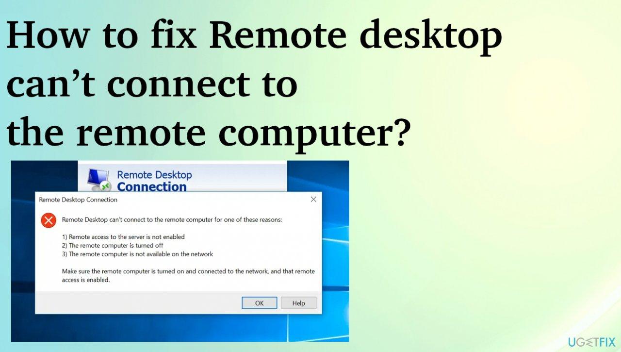 Remote desktop connection fail