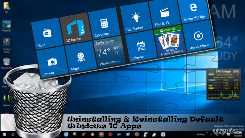illustrating the removal of default Windows 10 apps