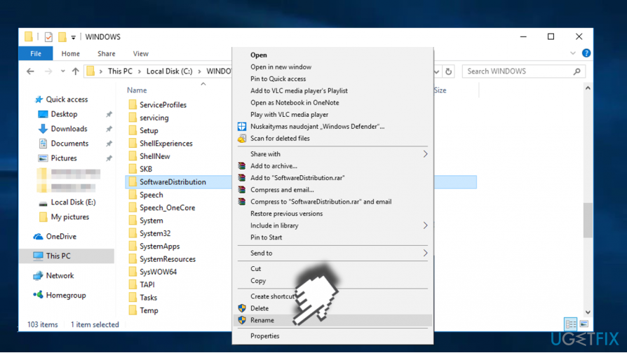 Rename SoftwareDistribution folder