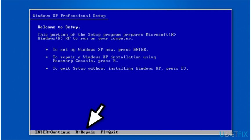 The image of Windows XP Professional setup