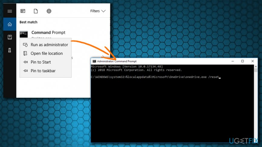 Reset OneDrive using Command Prompt