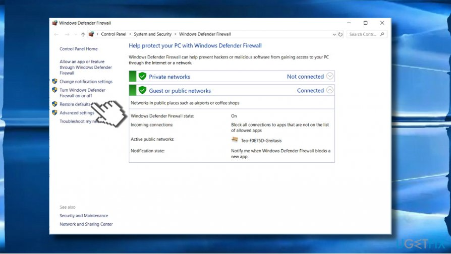 Restore Firewall settings to default