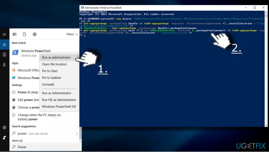 Run PowerShell to reset missing apps
