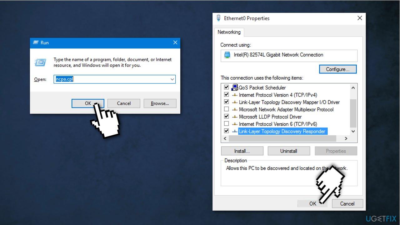 Revert to the default Network Adapter settings