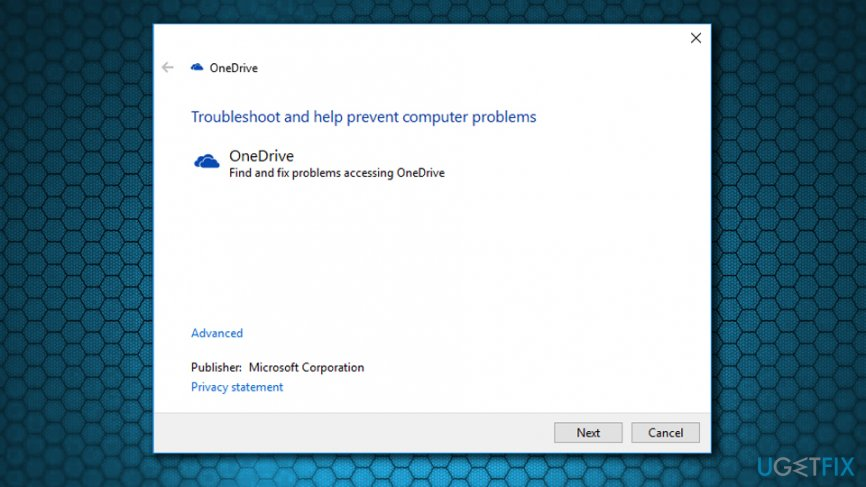 Run OneDrive troubleshooter