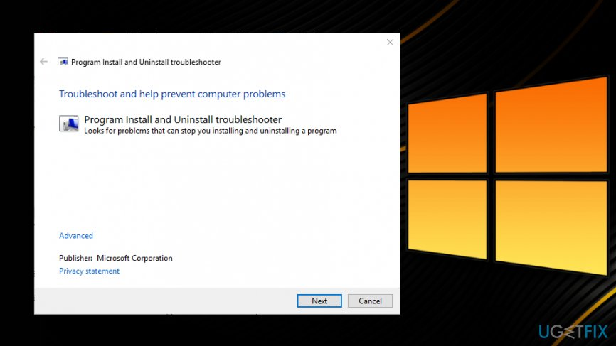 "Run ""Program Install and Uninstall Troubleshooter"""