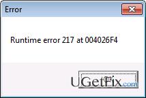Runtime Error 217 snapshot