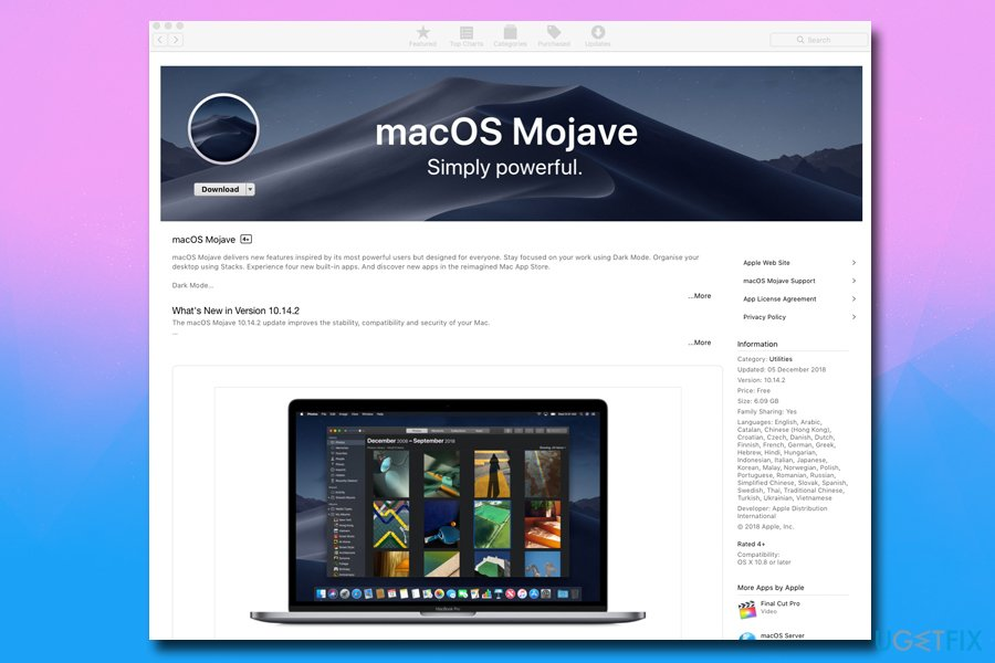 Update to macOS Mojave
