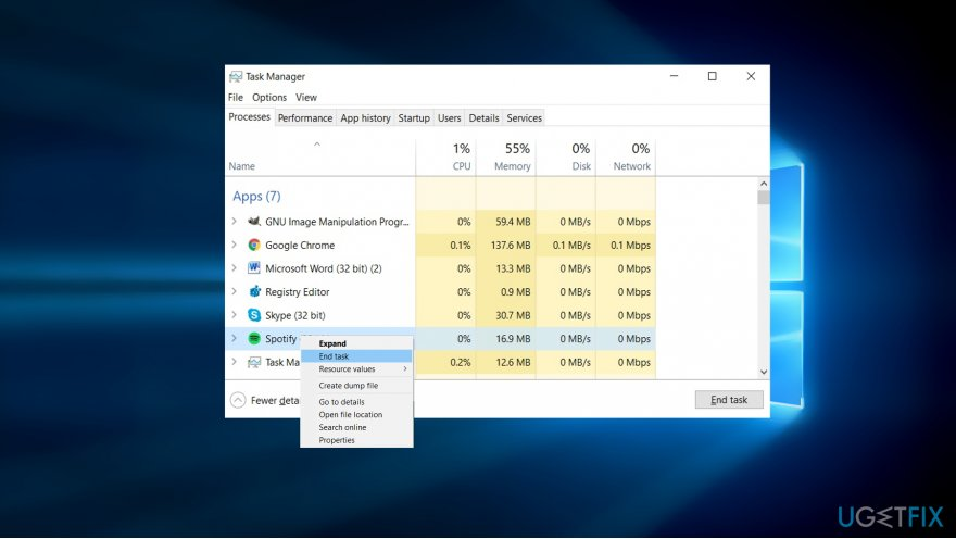 End Spotify process in the Task Manager