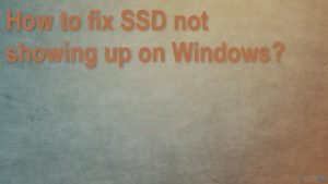 How to fix SSD not showing up on Windows?