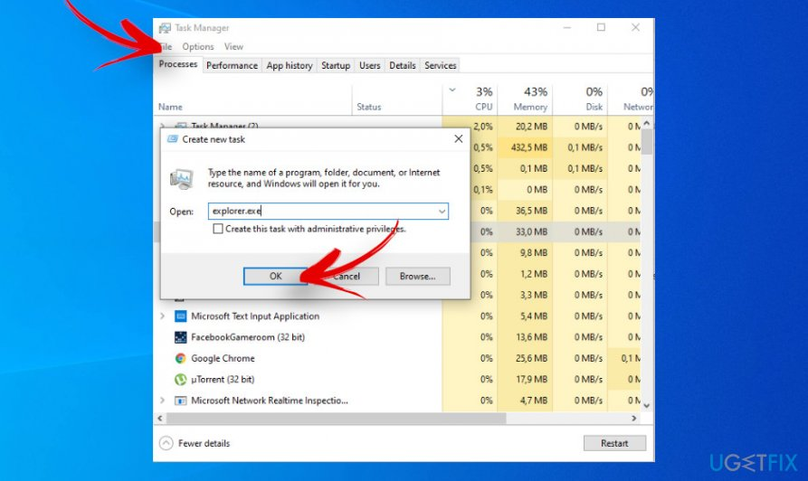 Restart File Explorer process