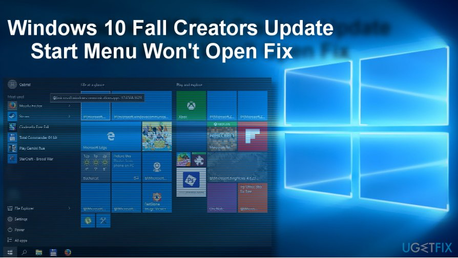 How to Fix Broken Start Menu on Windows 10 Fall Creators Update?