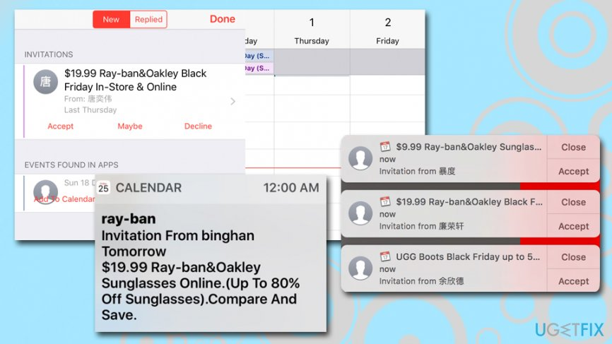 iCloud Calendar Spam - RayBan scam
