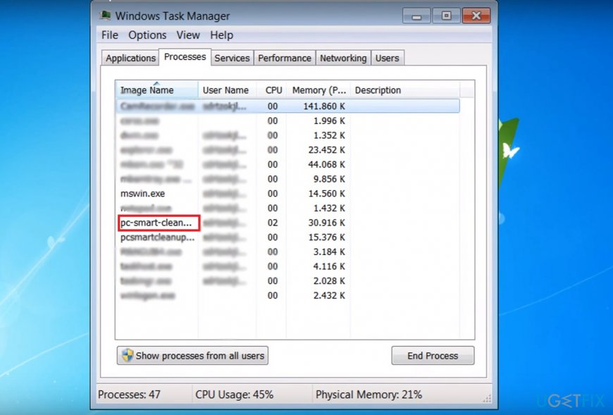 Terminate PC Smart Cleanup process on the Task Manager