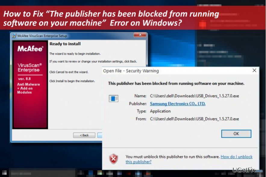 "picture of ""The publisher has been blocked from running software on your machine"" error"