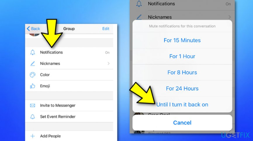 Stop particular group notifications from appearing on Messenger