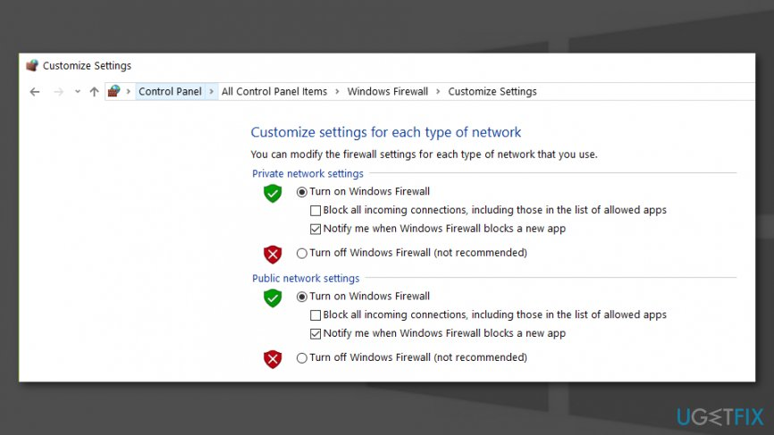 Firewall method for the Windows update error