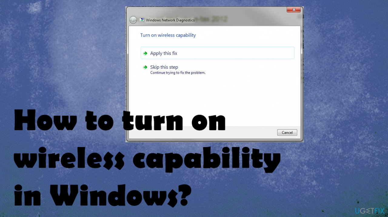How to turn on wireless capability in Windows