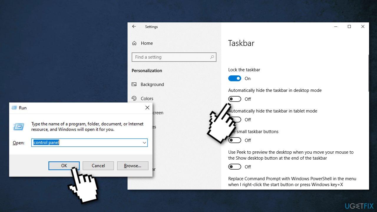 Unhide taskbar