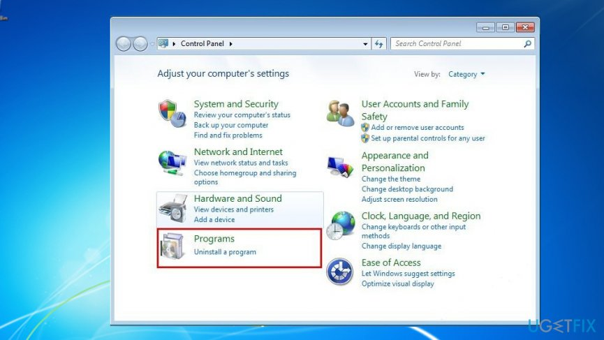 Enter Control Panel to uninstall PC Smart Cleanup