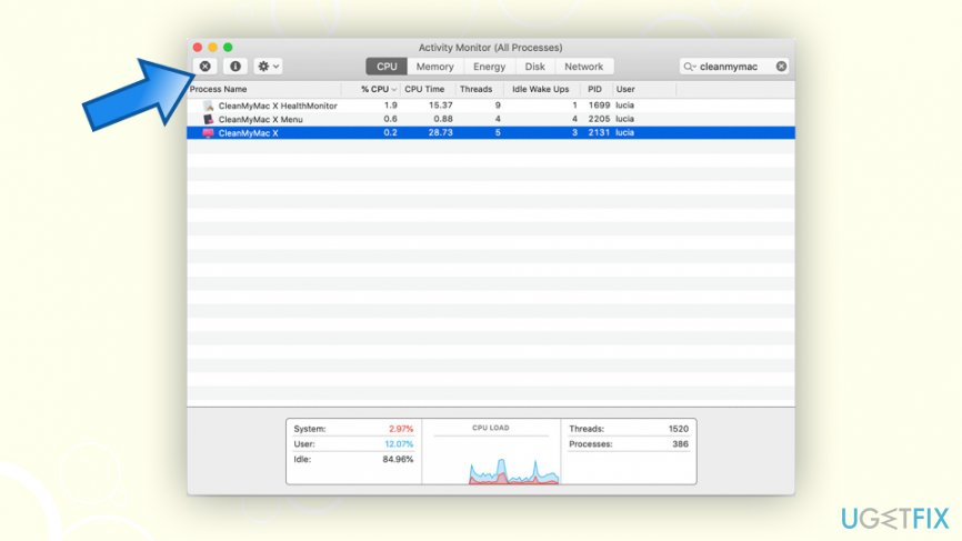 Stop CleanMyMac process via the Activity Monitor