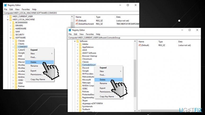 removing avast from registry