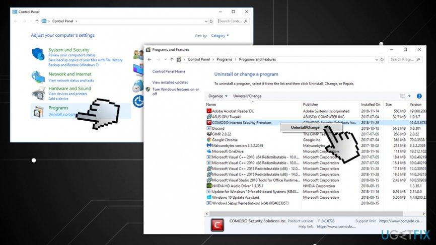 Remove the program via Control panel