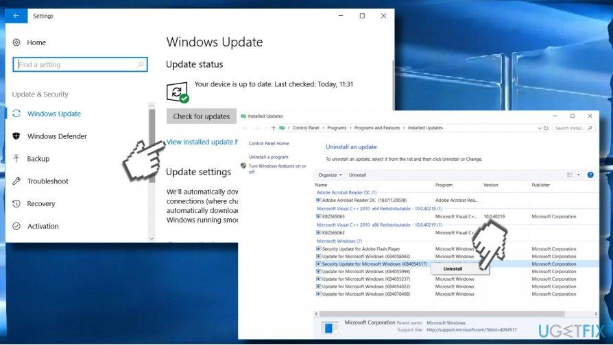 Uninstall Security Updates