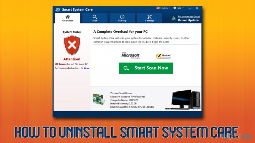 Uninstall Smart System Care