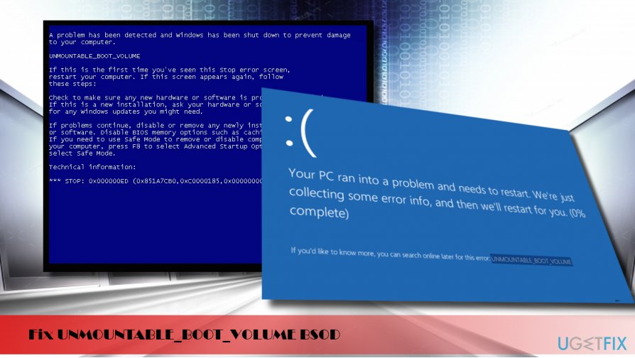 printscreen of the UNMOUNTABLE_BOOT_VOLUME stop error