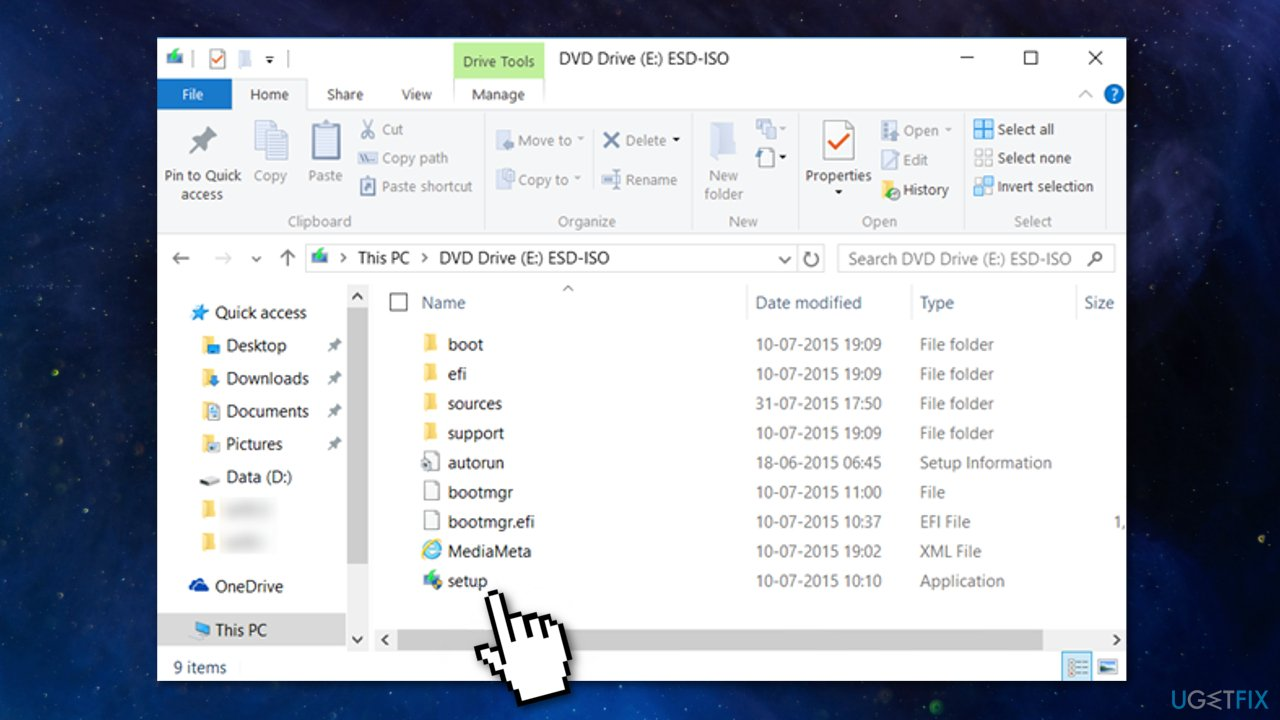 Update via ISO file setup