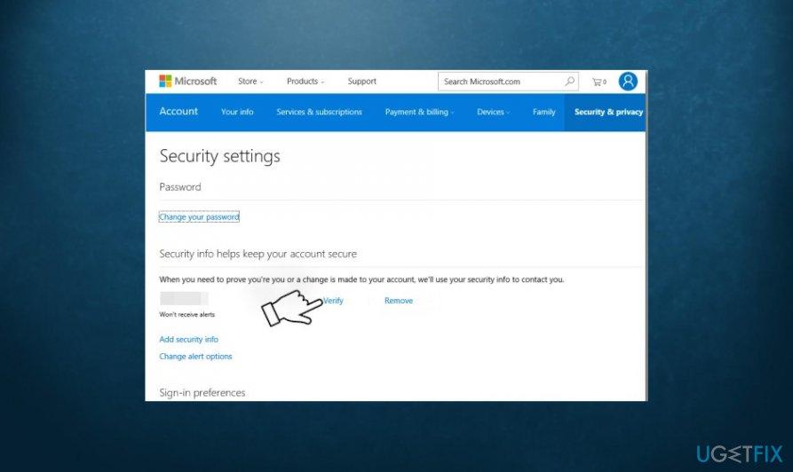 verify Microsoft account via phone or email