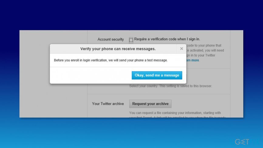Verify your phone number on Twitter