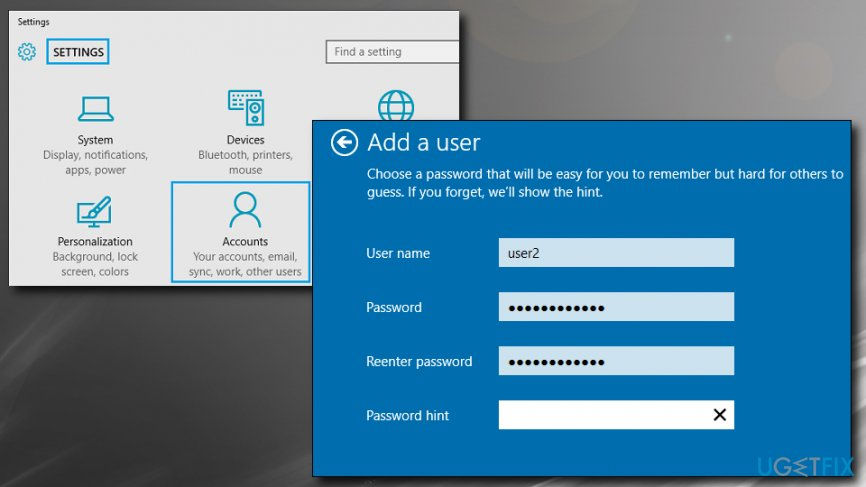 Create a new Windows account