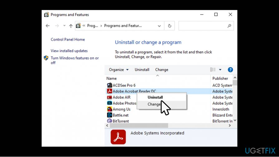 Reinstall Adobe programs