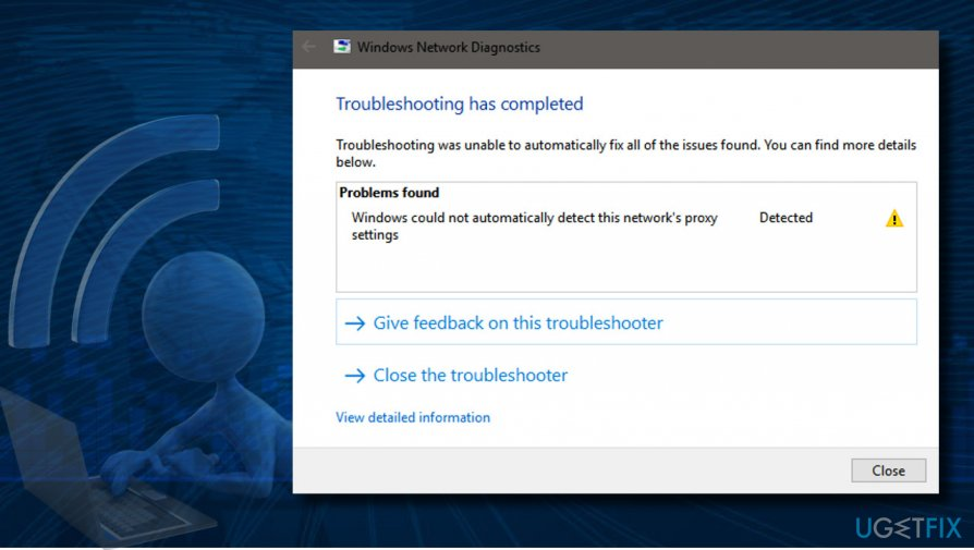 """Windows could not automatically detect this network's proxy settings"" bug"