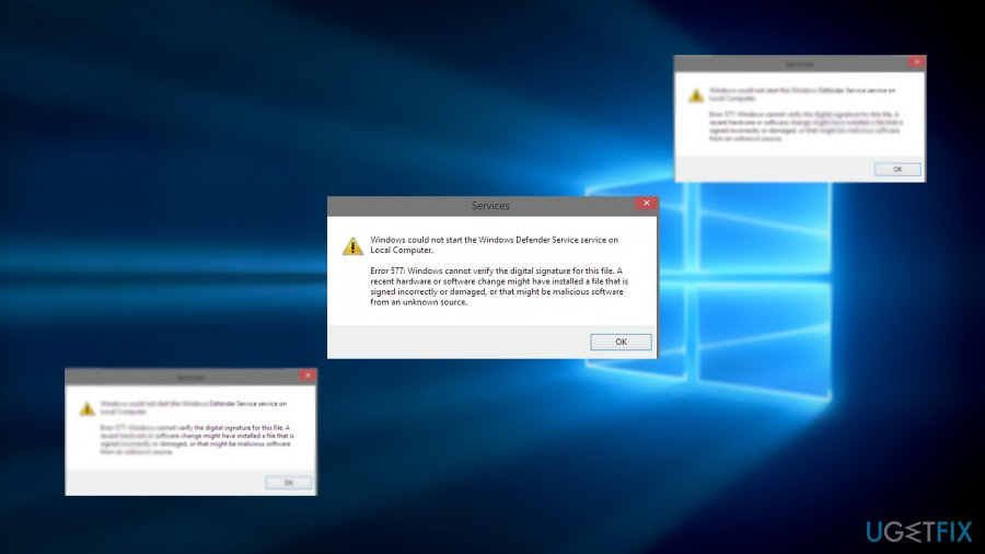 The image displaying Windows Defender 577 error