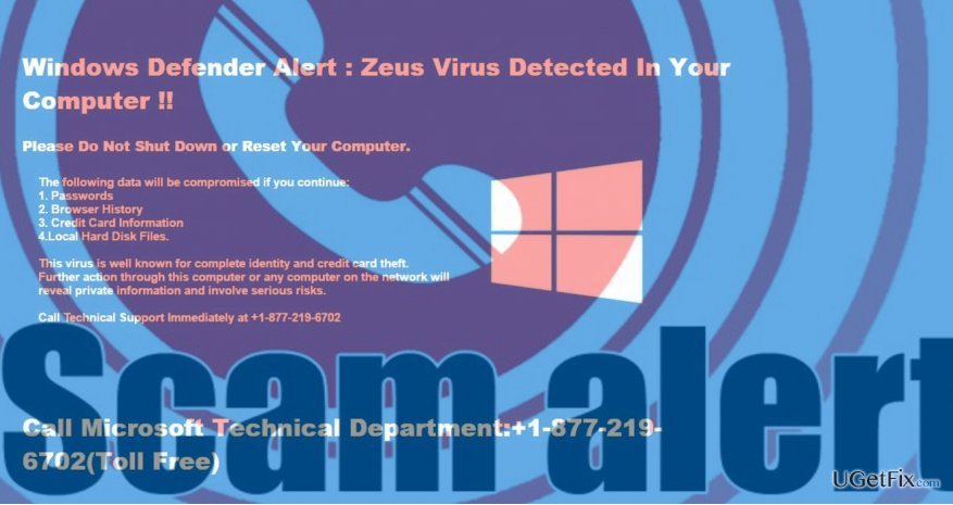 showing Windows Defender Alert scam