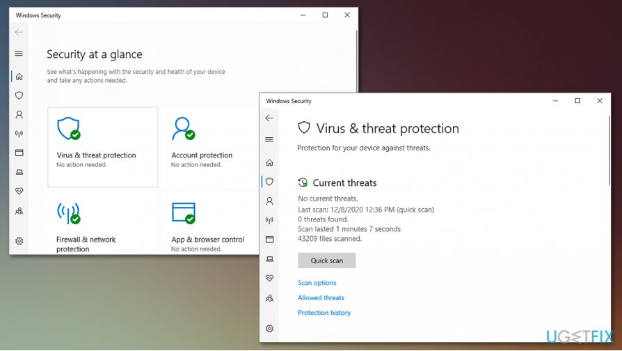 Access Windows Defender protection history