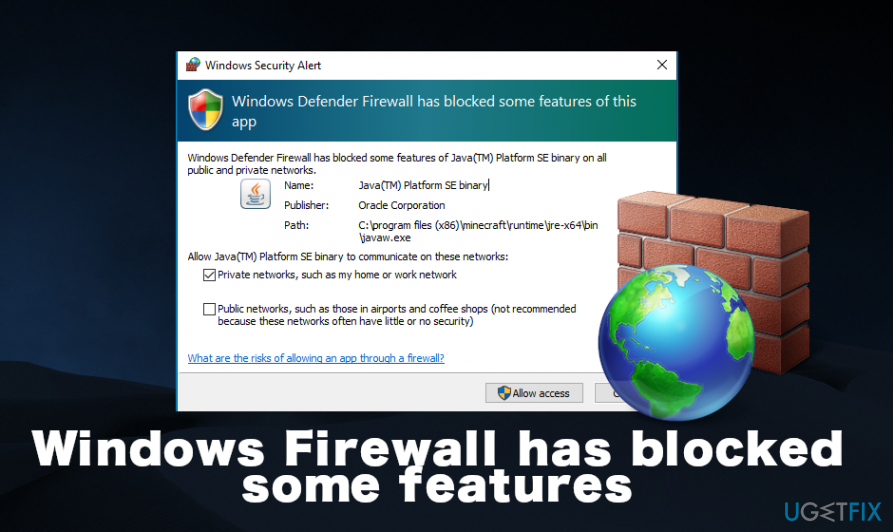Windows Firewall has blocked some features error