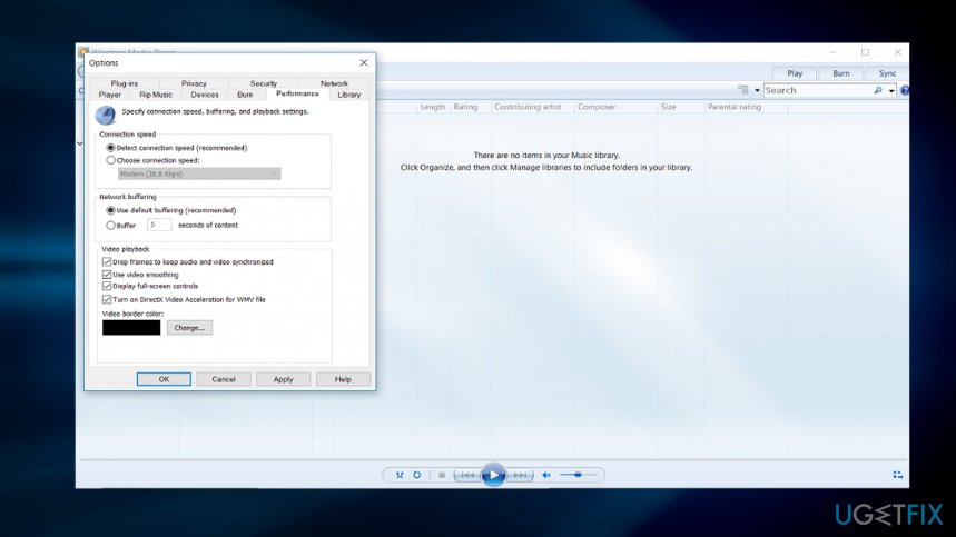 Change settings in Windows Media player